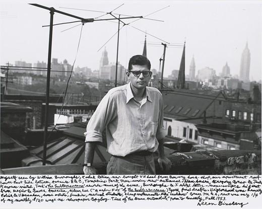 """""""Barouzovo viđenje mene, Kodak Retina tek kupljenja polovna iz zalagaonice Bowery, krov našeg apartmana Donja istočna obala između avenija B i C, stabla Tompkins parka ispod novih antena. Alan Ansen, Gregori Korzo i Džek Keruak su bili u poseti, Džekov """"The Subterraneans"""" je zahvatio veliki deo scene, Barouz i ja smo smo lekturisali pisma-manuskripte koje je slao iz Meksika i Južne Amerike, Alin Li (""""Mardo Foks"""" iz """"The Subterraneans"""") prekucala je finalnu verziju. Komšije su poglavito bile Poljaci i Ukrajinci, neki umetnici, narkomani, studenti medicine, jeftini restorani kao što je """"Leshkos"""" na uglu 7. i A, renta je bila samo ¼ od 120$ moje mesečne plate kurira u dnevnim novinama. Vreme """"Zelenog automobila"""", poeme za Kasadija, jesen 1953."""""""
