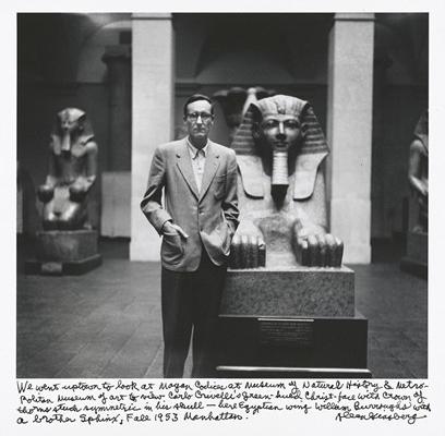 """""""Išli smo u gornji deo grada da vidimo """"Majanske kodekse"""" u Prirodnjačkom muzeju i u Metropoliten da vidimo Hristovo lice Karla Krivelija pod zelenom kapuljačom sa krunom od trnja simetrično pobodenom u njegovu lobanju – ovde je egipatsko krilo, Vilijam Barouz sa bratom Sfingom, jesen 1953 Menhetn"""""""
