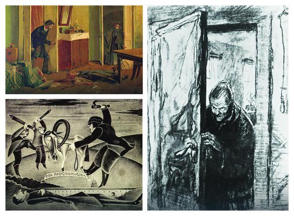 Deo postavke u Muzeju Dostojevskog - ilustracije inspirisane romanom iz sedamdesetih godina 19. i 20. veka (Foto: Promo)
