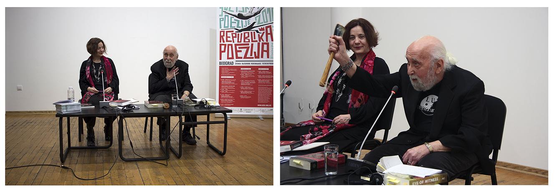 Sa tribine u Kulturnom centru Beograda, na kojoj je Džerom Rotenberg pročitao svoj esej o performansu i poeziji. Tribinu je moderirala Dubravka Đurić .