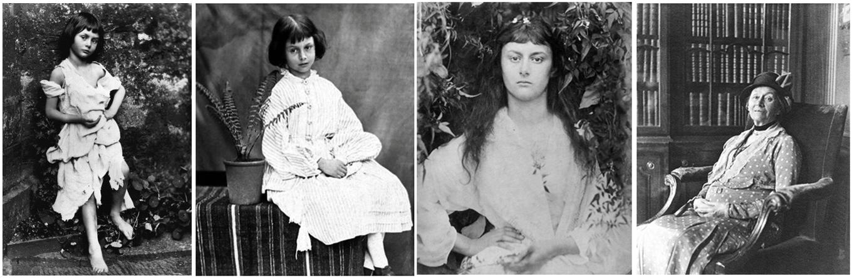 Prve tri fotografije Alis Lidel, dok je bila devojčica i kasnije devojka, napravio je Luis Kerol. Skroz desno je Lidel u starosti. (Foto: wikimedia commons)