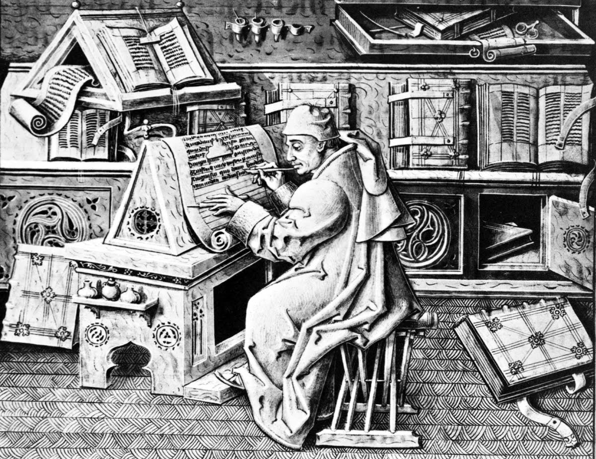 Srednjovekovni pisar u radnoj atmosferi.
