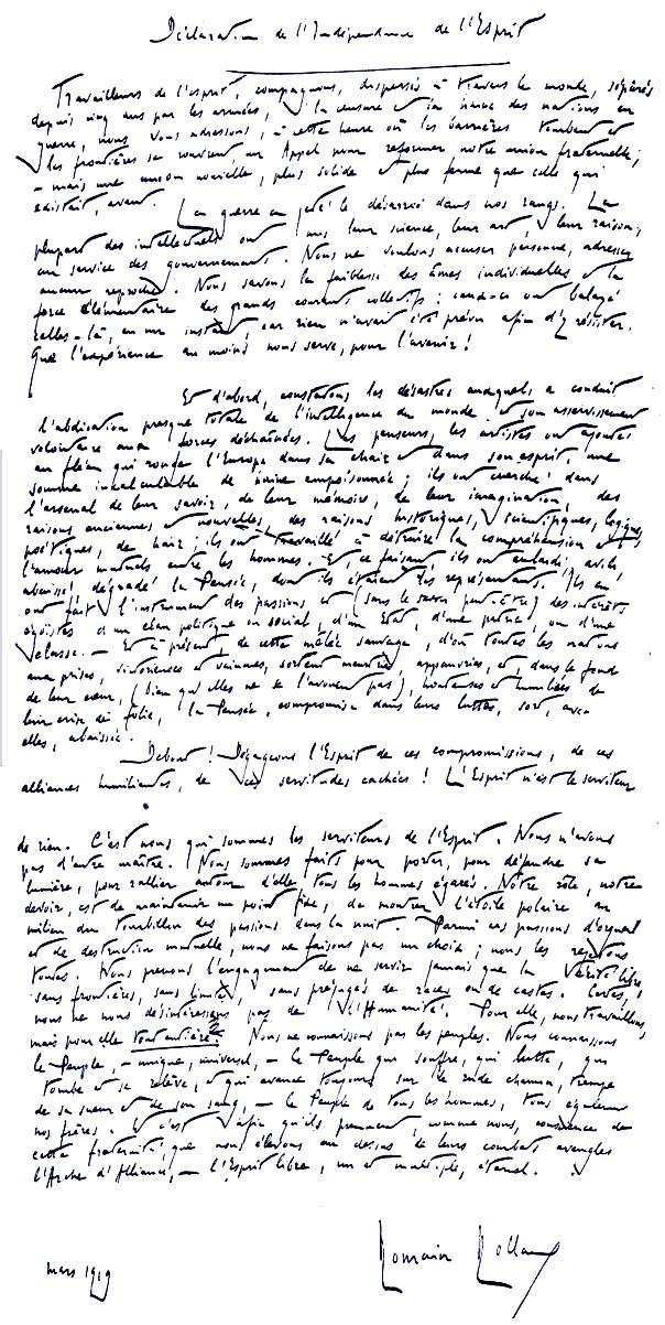 Originalni rukopis Deklaracije o nezavisnosti uma